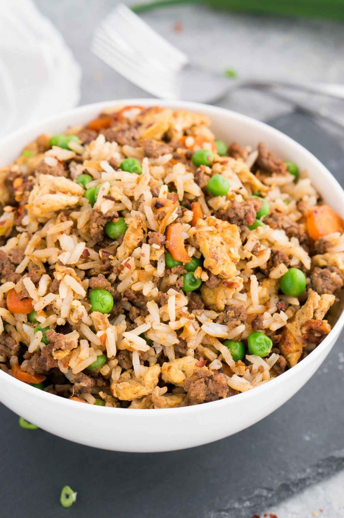ground beef fried rice recipe served in a bowl