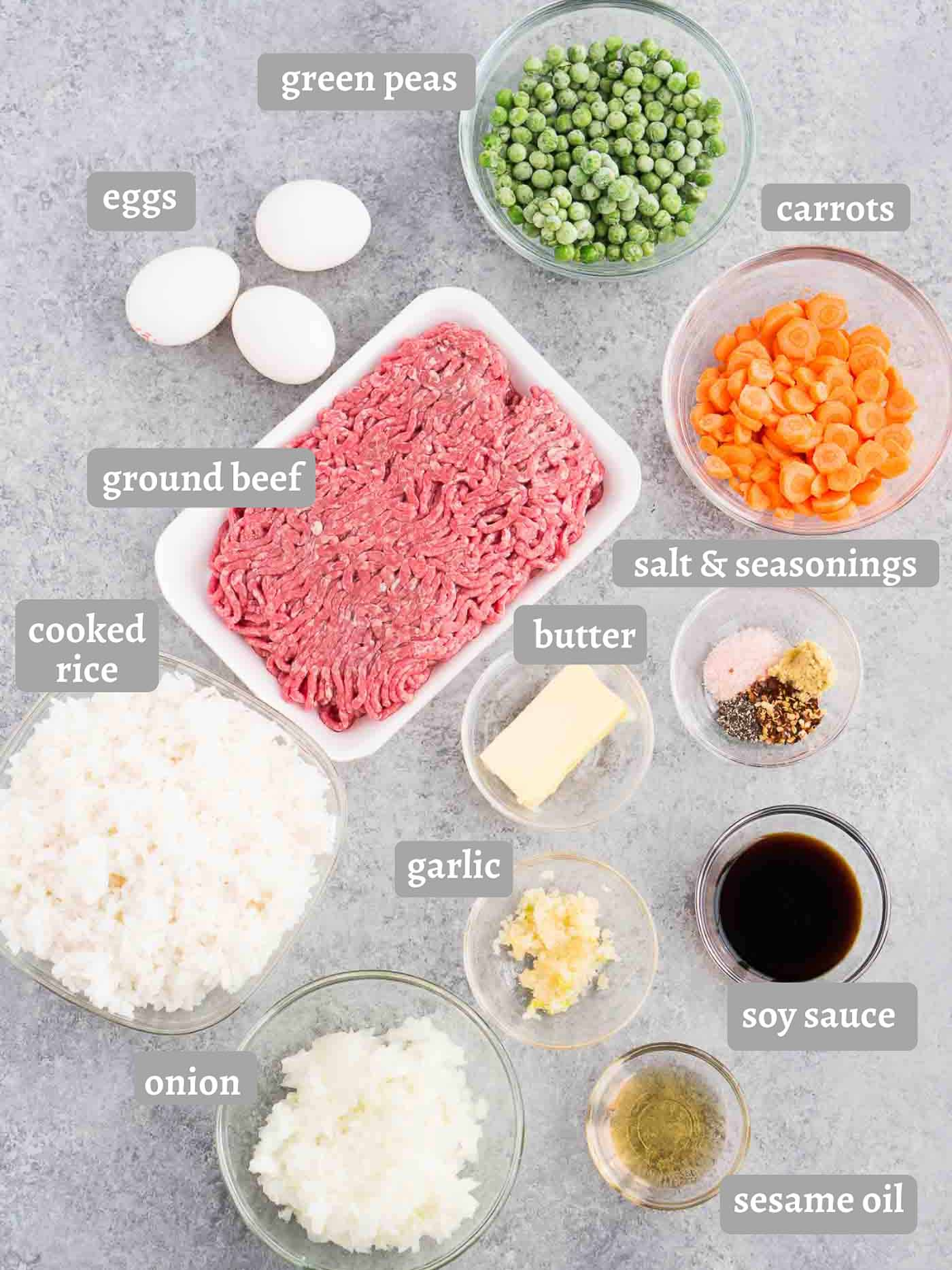 ingredients for beef fried rice