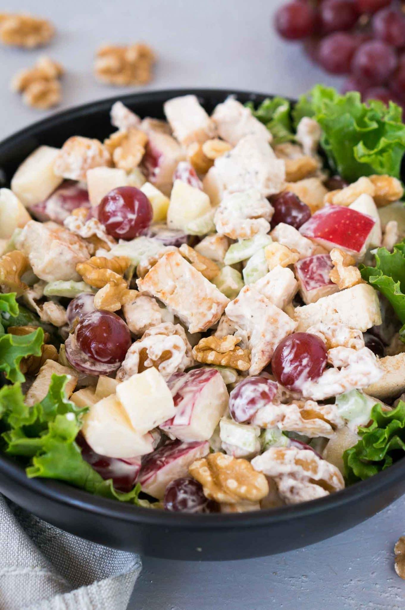 waldorf chicken salad in a bowl