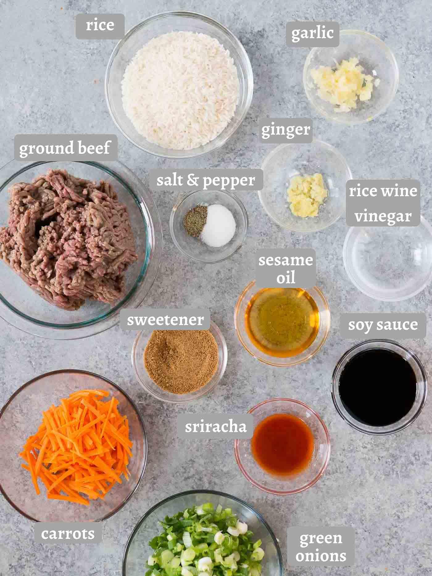 ingredients for Korean beef