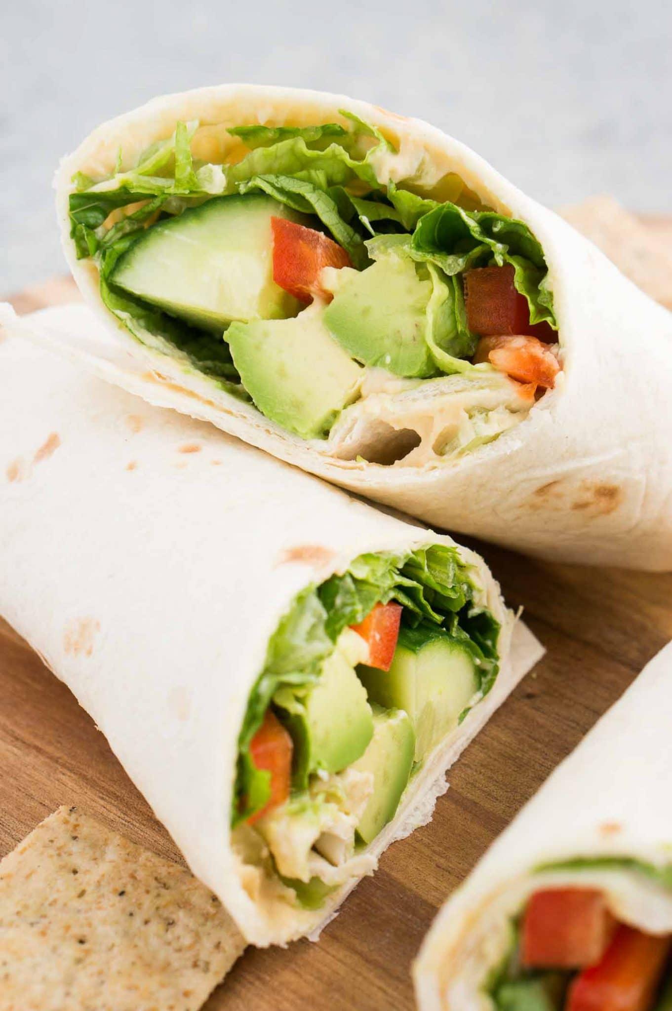 close up image of hummus veggie wrap