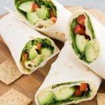 vegan wraps with veggies and hummus