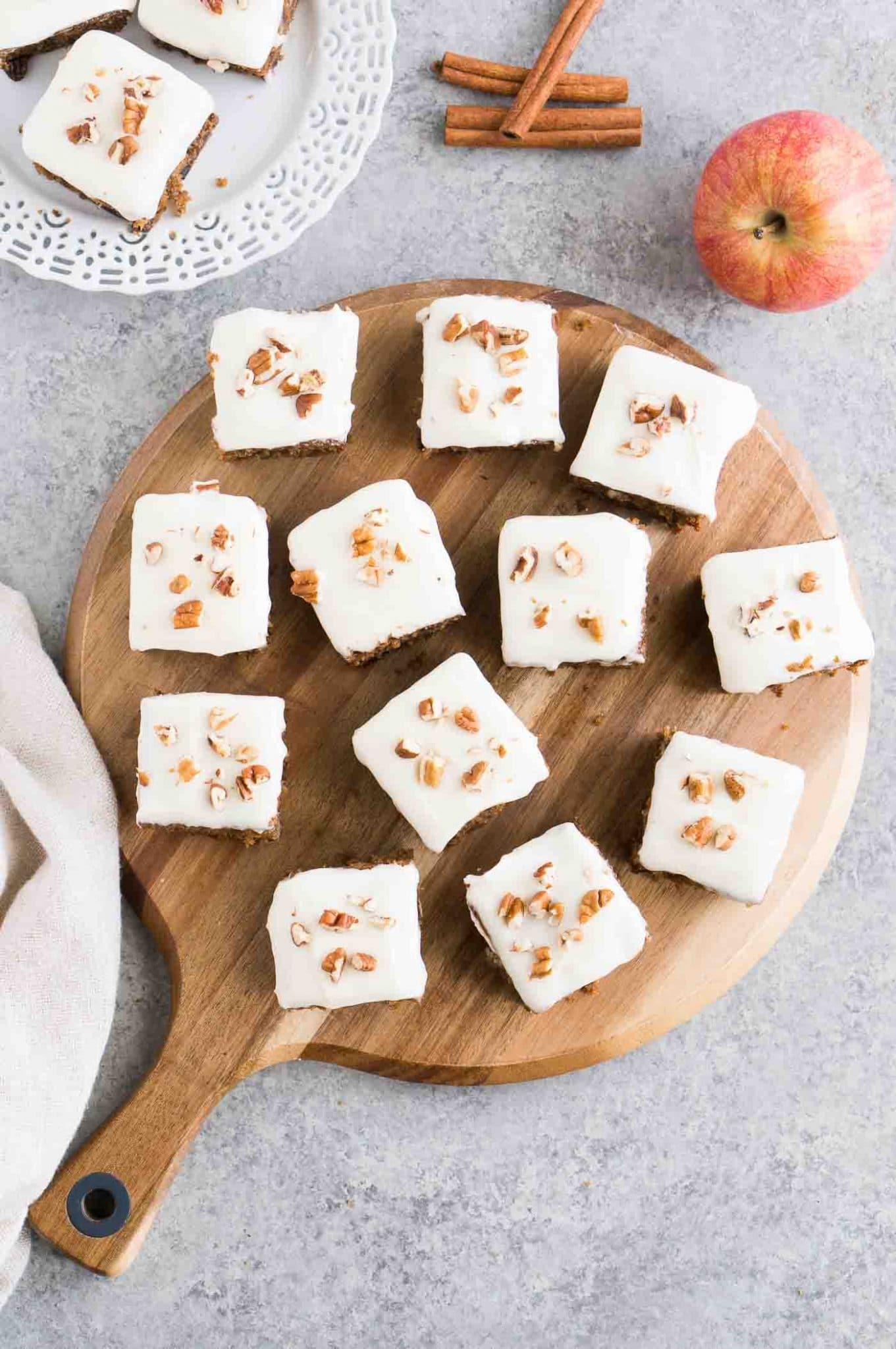 apple cake bars in a wooden board