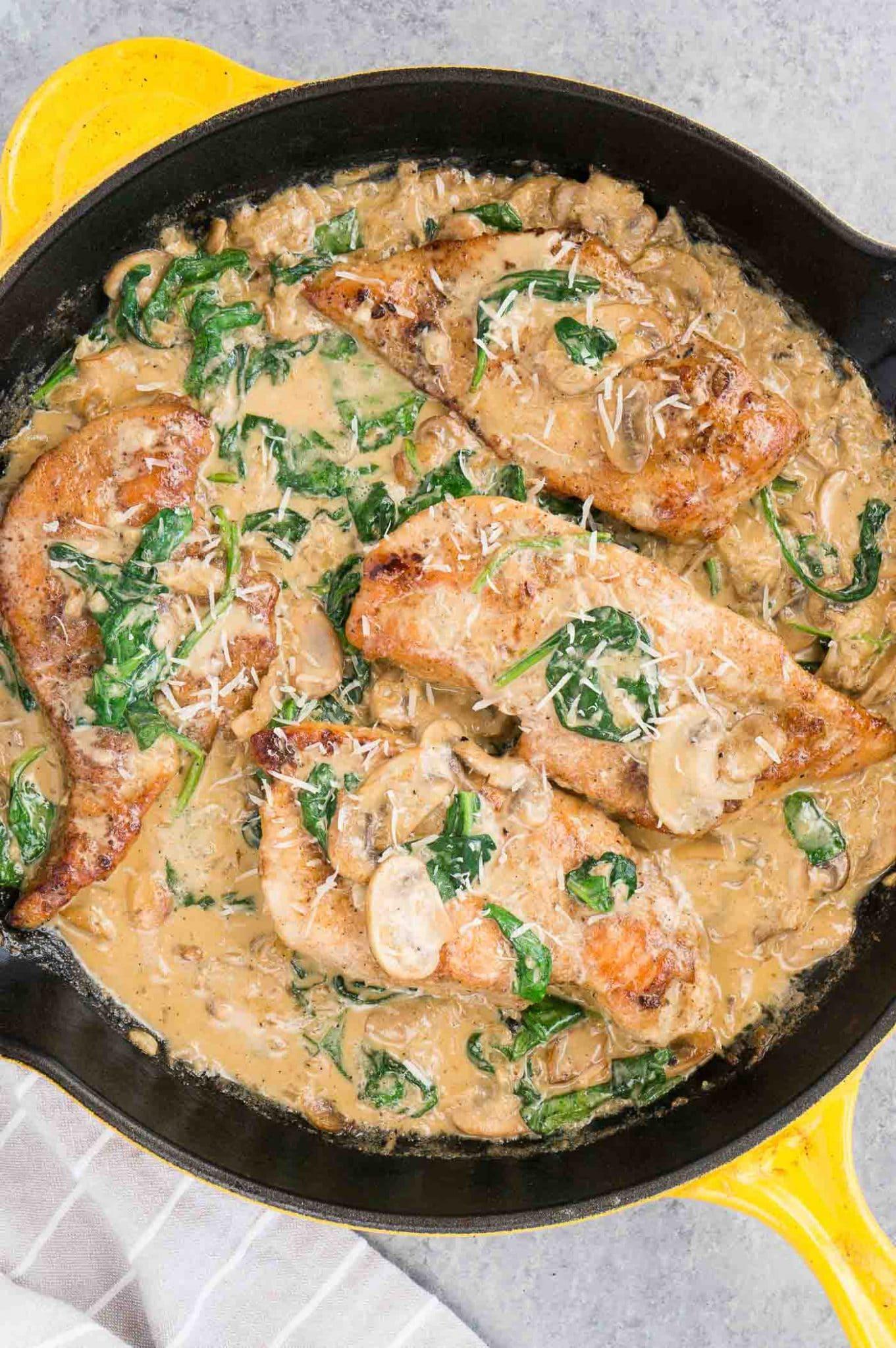 Chicken Florentine style with mushroom sauce