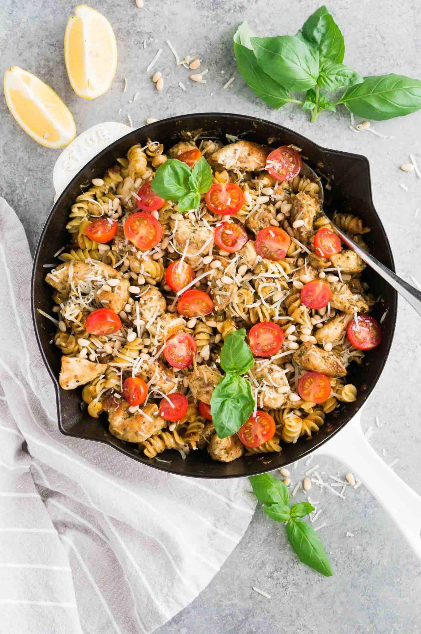 chicken pesto pasta skillet with cherry tomatoes