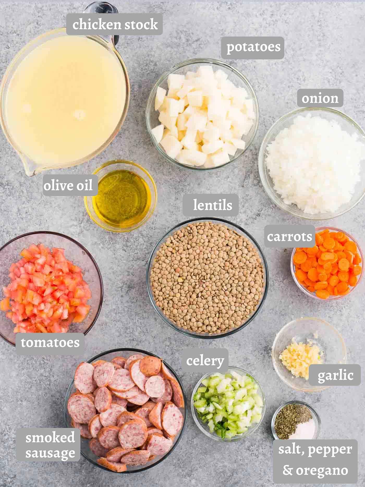 ingredients for lentil soup