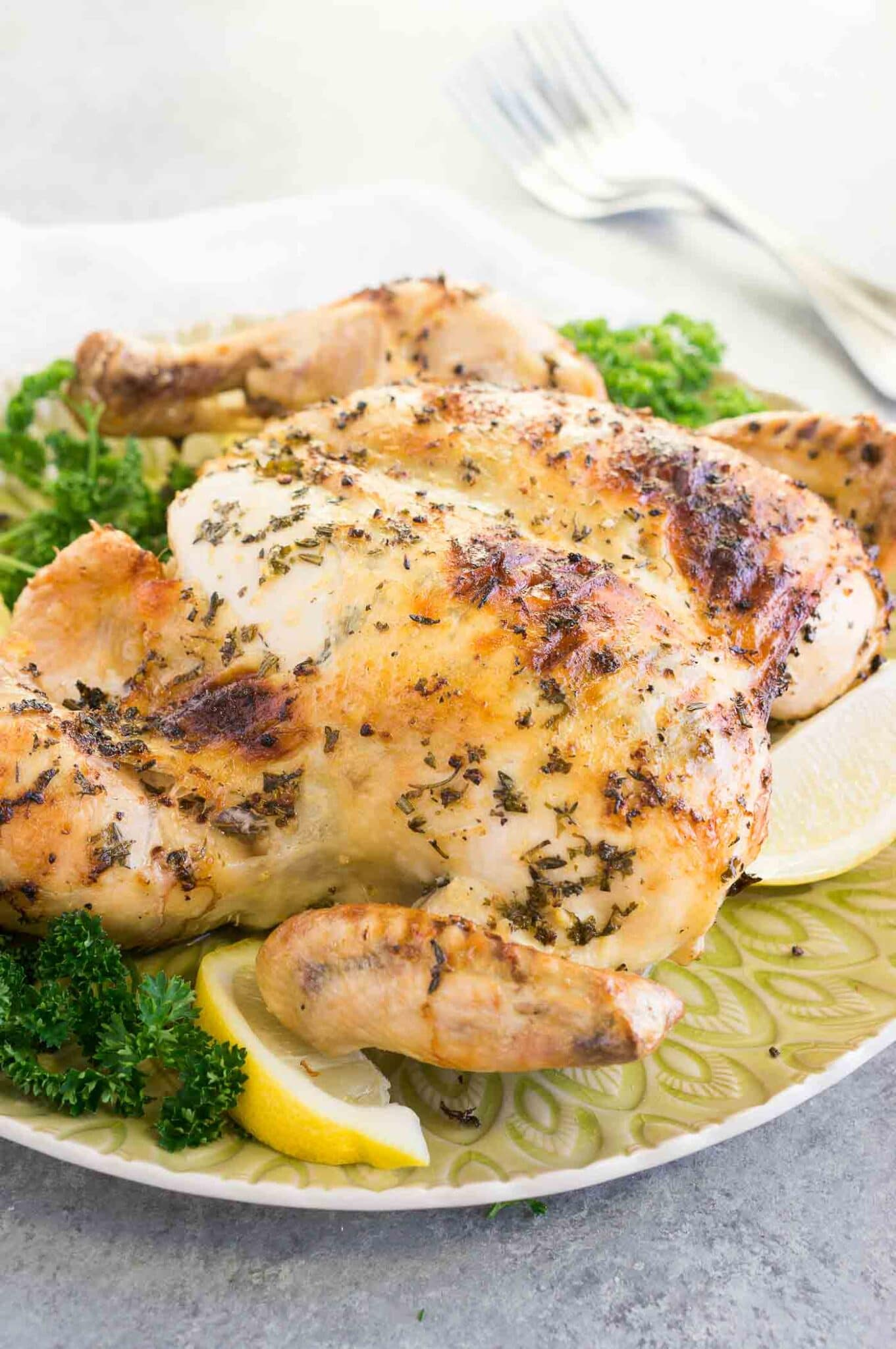 roasted whole spatchcocked chicken